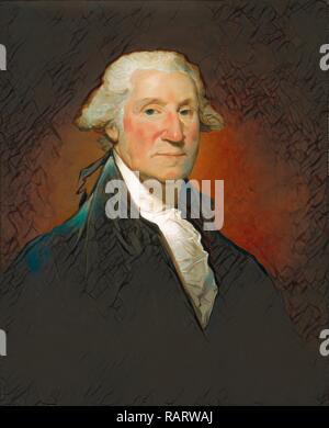 Gilbert Stuart, George Washington (Vaughan portrait), American, 1755-1828, 1795, oil on canvas. Reimagined - Stock Photo