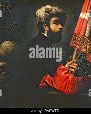 Jacopo Tintoretto, Portrait of a Man as Saint George, Italian, 1518-1594, 1540-1550, oil on canvas. Reimagined - Stock Photo