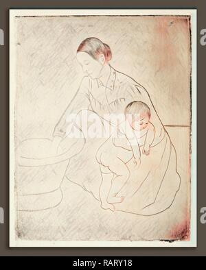 Mary Cassatt, The Bath, American, 1844 - 1926, c. 1891, drypoint and soft-ground etching. Reimagined - Stock Photo