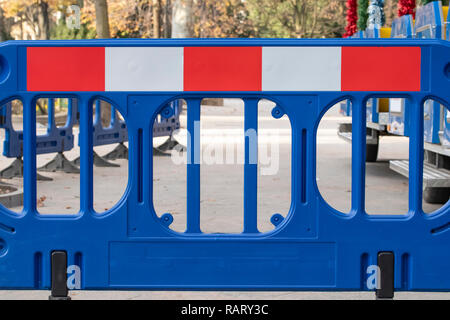 Without entry, prohibiting sign on the road, fencing, stopping the passage - Stock Photo