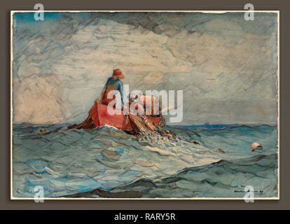 Winslow Homer, Hauling in the Nets, American, 1836 - 1910, 1887, watercolor over graphite. Reimagined - Stock Photo