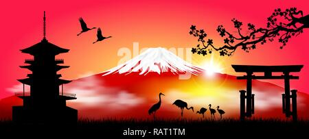 Silhouette Fuji mountain at sunrise. Fuji against the red sky and the rising sun. Landscape, Mount Fuji. Mount Fuji on a red background. - Stock Photo