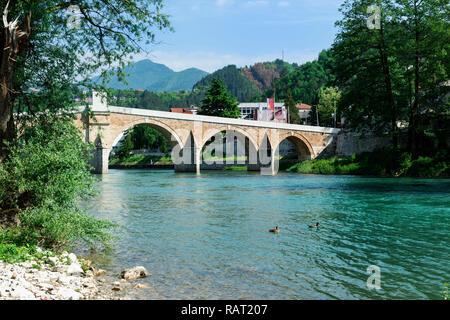 Historic ottoman bridge over Neretva river, Konjic, Bosnia and Herzegovina - Stock Photo