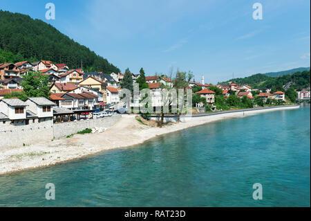Riverbank along the Neretva river, Konjic, Bosnia and Herzegovina - Stock Photo