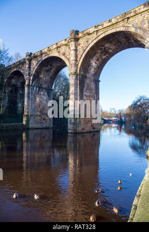 Knaresborough Railway Viaduct Bridge closeup, River Nidd, North Yorkshire, England, UK - Stock Photo