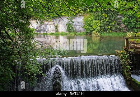 MILL POND CRESSBROOK DALE PEAK DISTRICT NATIONAL PARK, NP, UK, DERBYSHIRE - Stock Photo