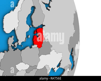Baltic States on simple political 3D globe. 3D illustration. - Stock Photo
