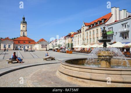 BIALYSTOK, POLAND - AUGUST 12: People visit the market square on August 12, 2011 in Bialystok, Poland. Bialystok is the largest city and cultural capi - Stock Photo