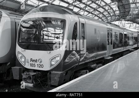 LIVERPOOL, UK - APRIL 20, 2013: TransPennine Express train in Liverpool, UK. TransPennine is operated by FirstGroup and Keolis. FirstGroup employs 124 - Stock Photo