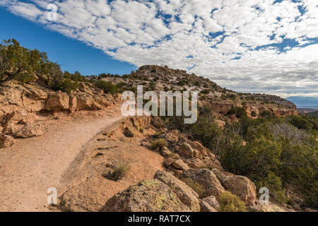Trail at the Tsankawi Prehistoric Sites in Bandelier National Monument near Los Alamos, New Mexico - Stock Photo