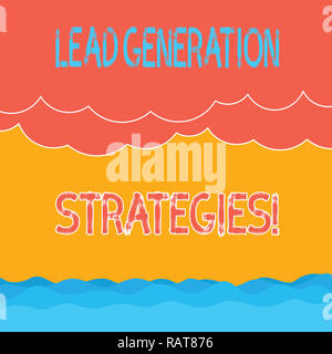 Text sign showing Lead Generation Strategies. Conceptual photo Initiation of consumer interest into products Halftone Wave and Fluffy Heavy Cloud Seas - Stock Photo