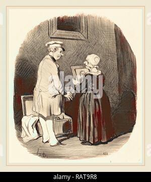 Honoré Daumier (French, 1808-1879), Tiens, ma femme, v'la mon portrait, 1846, lithograph. Reimagined - Stock Photo