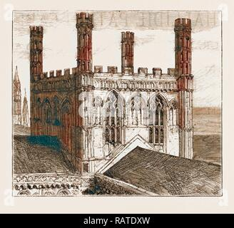 THE UNSAFE CONDITION OF PETERBOROUGH CATHEDRAL: THE CENTRAL TOWER NOW BEING PULLED DOWN, UK, 1883. Reimagined - Stock Photo