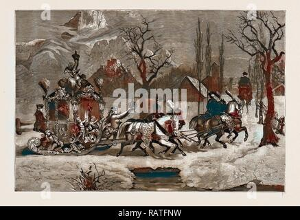 KING LUDWIG OF BAVARIA DRIVING IN HIS SLEDGE, 1886. Reimagined by Gibon. Classic art with a modern twist reimagined - Stock Photo