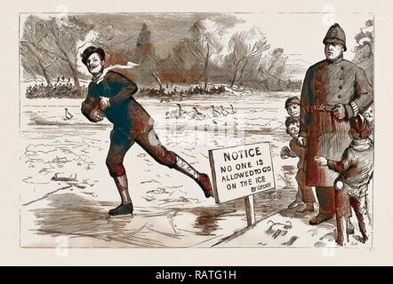 THE RECENT FROST AND SNOW STORM IN LONDON: 'DANGER!' A SCENE IN ST. JAMES'S PARK, UK, 1886. Reimagined - Stock Photo