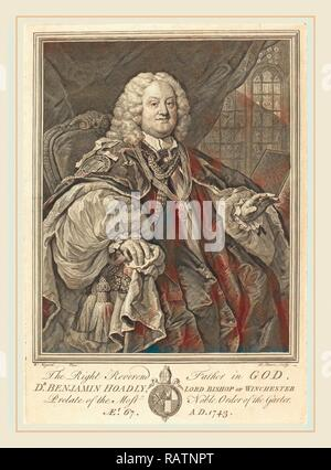 Bernard Baron after William Hogarth, French (1696-1762), Bishop Hoadly, 1743, engraving. Reimagined by Gibon. Classic reimagined - Stock Photo