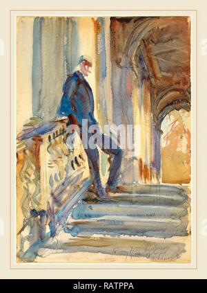 John Singer Sargent, Sir Neville Wilkenson on the Steps of a Venetian Palazzo, American, 1856-1925, 1905, watercolor reimagined - Stock Photo
