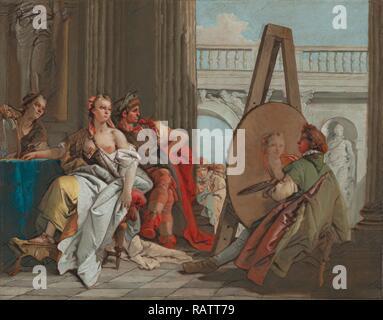 Alexander the Great and Campaspe in the Studio of Apelles, Giovanni Battista Tiepolo, Italian, 1696 - 1770, Italy reimagined - Stock Photo