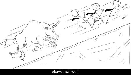 Cartoon of Group of Businessmen Running Uphill Away From Angry Bull as Rising Market Prices Symbol - Stock Photo