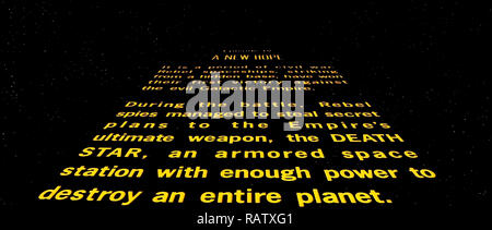 The Opening Roll Up Or Crawl From Star Wars Episode Iv A New Hope 1977 Directed By George Lucas Stock Photo Alamy