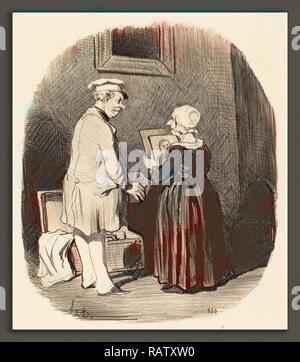 Honoré Daumier (French, 1808 - 1879), Tiens, ma femme, v'la mon portrait, 1846, lithograph. Reimagined - Stock Photo