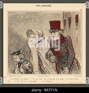 Honoré Daumier (French, 1808 - 1879), Tu m'embêtes, mon épouse! v'la une heure, 1843, lithograph. Reimagined - Stock Photo