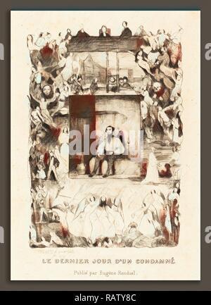 Célestin Nanteuil (French, 1813 - 1873), Le dernier jour d'un condamne, 1833, etching. Reimagined by Gibon. Classic reimagined - Stock Photo