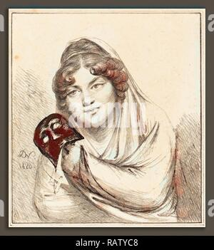 Baron Dominique Vivant Denon (French, 1747 - 1825), Girl with a Mask, 1820, lithograph. Reimagined by Gibon. Classic reimagined