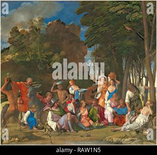 Giovanni Bellini and Titian, Italian (c. 1430-1435-1516), The Feast of the Gods, 1514-1529, oil on canvas. Reimagined - Stock Photo