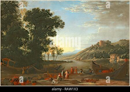 Claude Lorrain, French (1604-1605-1682), Landscape with Merchants, c. 1629, oil on canvas. Reimagined - Stock Photo