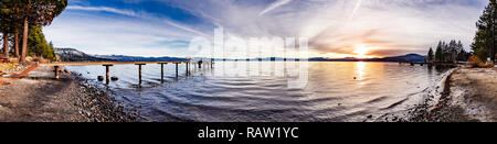 Colorful sunset on the north shore of Lake Tahoe, California - Stock Photo