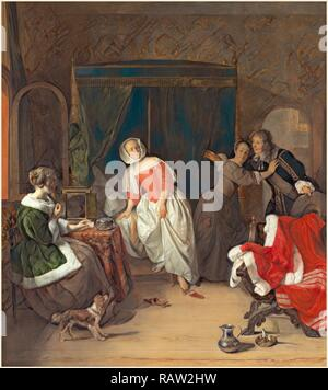 Gabriel Metsu, Dutch (1629-1667), The Intruder, c. 1660, oil on panel. Reimagined by Gibon. Classic art with a modern reimagined - Stock Photo