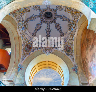 Door of Bell tower of mosque-cathedral of Cordoba. Original Muslim minaret this structure has played an important role in the image and profile of Cor - Stock Photo