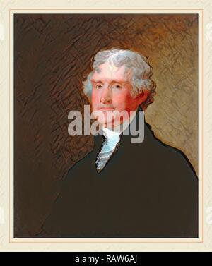 Gilbert Stuart, Thomas Jefferson, American, 1755-1828, c. 1821, oil on wood. Reimagined by Gibon. Classic art with a reimagined - Stock Photo