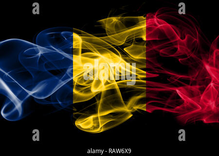 National flag of Chad made from colored smoke isolated on black background - Stock Photo