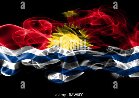National flag of Kiribati made from colored smoke isolated on black background - Stock Photo