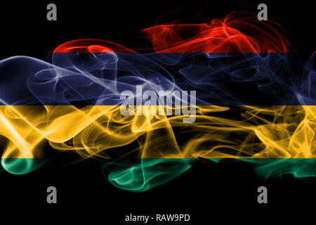 National flag of Mauritius made from colored smoke isolated on black background - Stock Photo