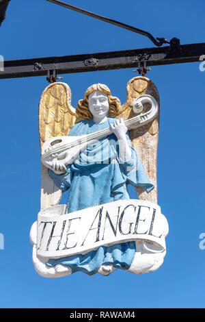 15th century The Angel Hotel sign, Market Square, Lavenham, Suffolk, England, United Kingdo - Stock Photo
