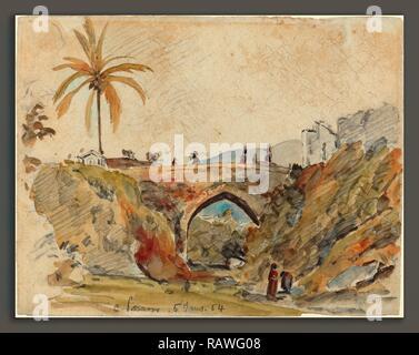 Camille Pissarro (French, 1830 - 1903), Bridge at Caracas, 1854, watercolor over graphite. Reimagined - Stock Photo
