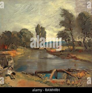 Flatford Lock, John Constable, 1776-1837, British. Reimagined by Gibon. Classic art with a modern twist reimagined - Stock Photo