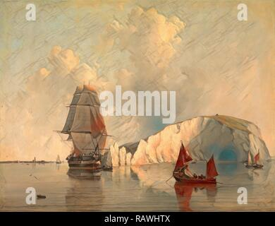 Off the Needles, Isle of Wight, Edward William Cooke, 1811-1880, British. Reimagined by Gibon. Classic art with a reimagined - Stock Photo