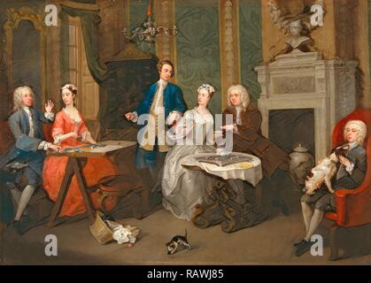 Portrait of a Family A Family Party, William Hogarth, 1697-1764, British. Reimagined by Gibon. Classic art with a reimagined - Stock Photo