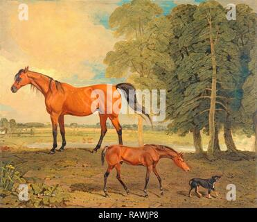 Broodmare with Foal, and a Terrier Broodmare with Foal and Terrier Near Newmarket: Broodmare with Foal and Terrier reimagined - Stock Photo