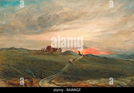 Stonehenge at Sunset, After John Constable, 1776-1837, British. Reimagined by Gibon. Classic art with a modern twist reimagined - Stock Photo