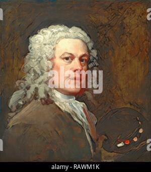 Self-Portrait, William Hogarth, 1697-1764, British. Reimagined by Gibon. Classic art with a modern twist reimagined - Stock Photo