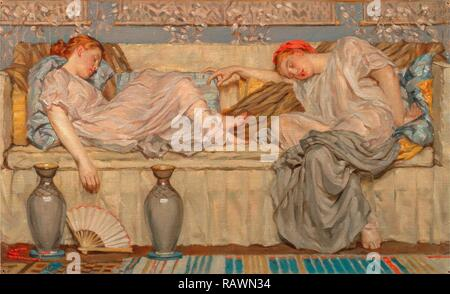 Beads (study) Two Women on a Sofa, 1875, Albert Joseph Moore, 1841-1893, British. Reimagined by Gibon. Classic art reimagined - Stock Photo