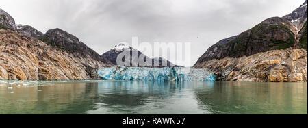 Panoramic View of Endicott Arm Glacier in Tracy Arm-Fjords Terror Wilderness, Alaska - Stock Photo