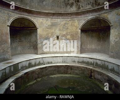 Italy. Pompeii. The Forum thermal baths. Public baths. Edificated immediately after the founding of the colony, they were subdivided into menÕs and womenÕs section. Room of the Frigidarium (cold pool). Campania. - Stock Photo