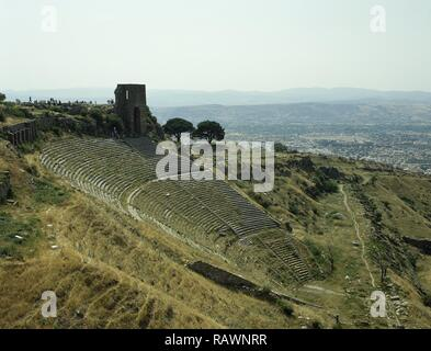 Turkey. Pergamon. Ancient Greek city in Aeolis. Upper Acropolis. Theatre. Hellenistic period. 3rd century BC. Capacity for 10.000 peoples. At a height of 36 metres, it is the steepest of all ancient theatres. Anatolia. - Stock Photo