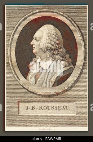 Augustin de Saint-Aubin (French, 1736 - 1807), Jean-Baptiste Rousseau, 1802, engraving over etching on laid paper reimagined - Stock Photo